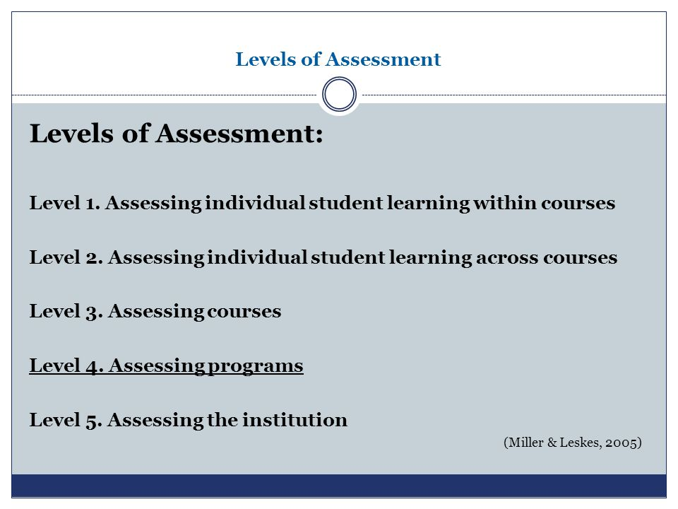 Levels of Assessment Levels of Assessment: Level 1. Assessing individual student learning within courses Level 2. Assessing individual student learnin