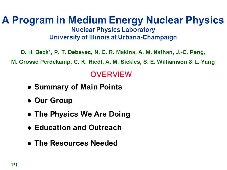 12 Our Program: Fundamental Symmetries l Daya Bay  Precision measurement of  13, |  m ee | 2 : new combined 6 and 8 AD result  Sterile neutrino limits: 10 -3 eV 2 < |  m 41 | 2 < 0.3 eV 2 (Ling)  FUTURE: development of JUNO experiment to determine mass hierarchy l nEDM  Dec.