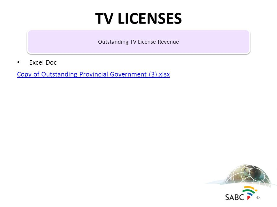 Excel Doc Copy of Outstanding Provincial Government (3).xlsx TV LICENSES 48 Outstanding TV License Revenue