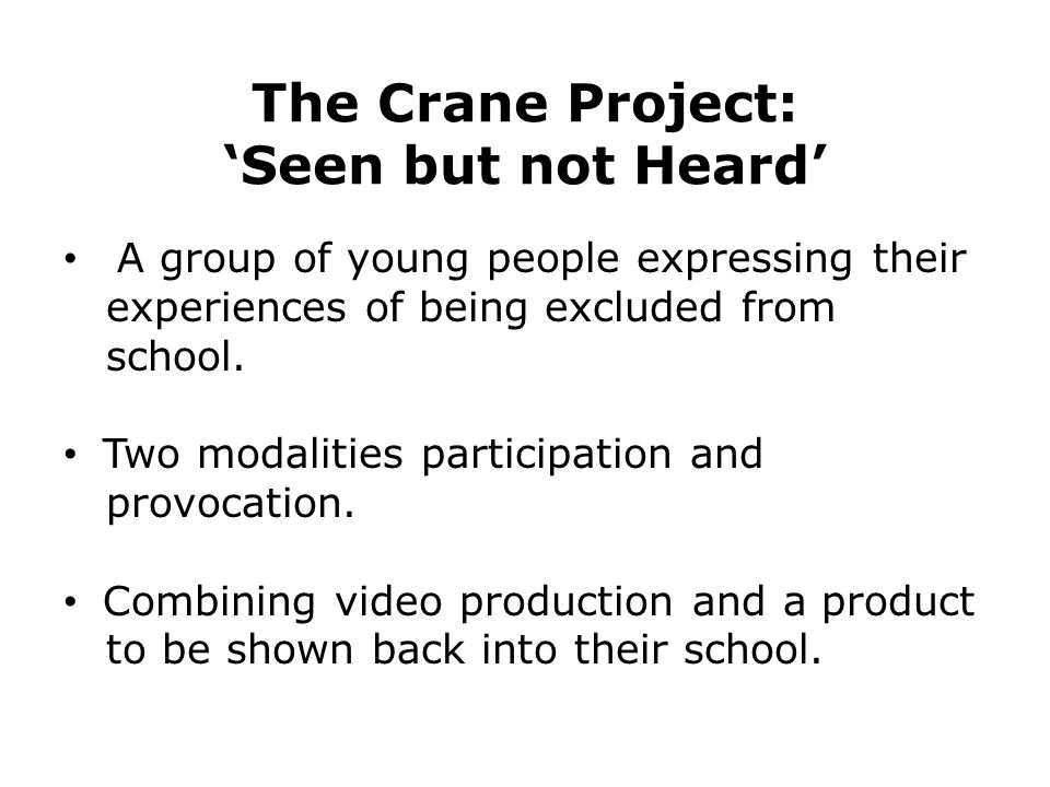 The Crane Project: 'Seen but not Heard' A group of young people expressing their experiences of being excluded from school. Two modalities participati