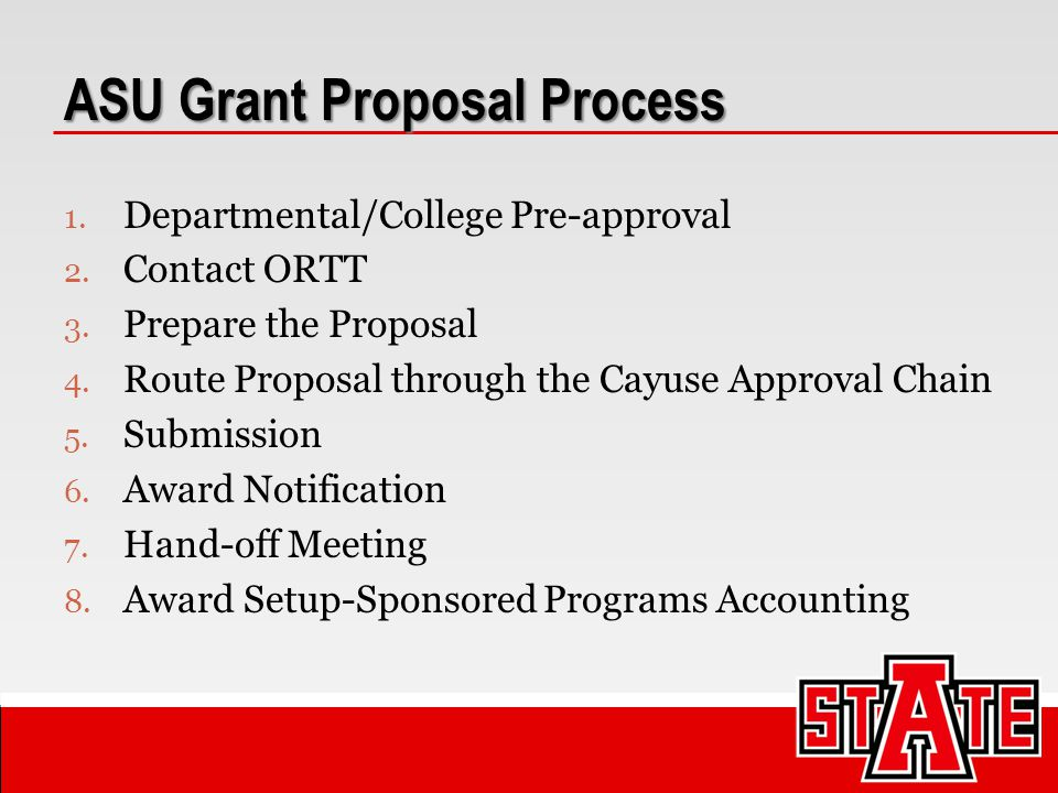 ASU Grant Proposal Process We (ORTT) can help :  review the solicitation  ensure eligibility  examine basic requirements, etc.