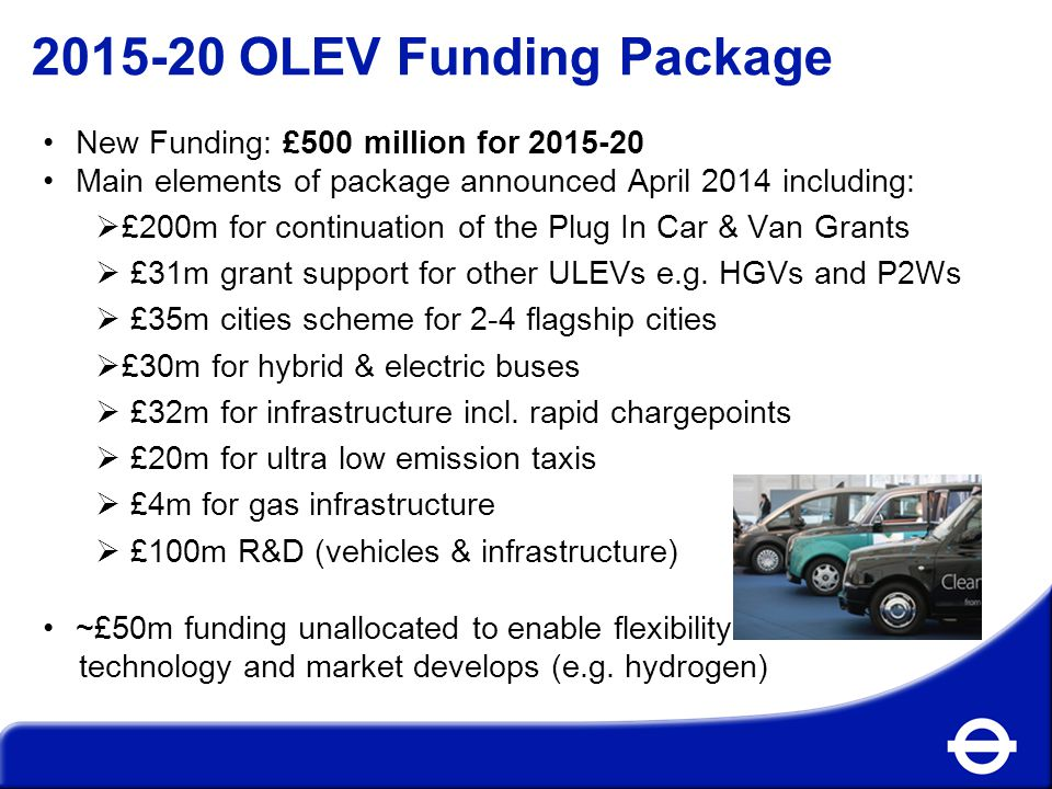 2015-20 OLEV Funding Package New Funding: £500 million for 2015-20 Main elements of package announced April 2014 including:  £200m for continuation of the Plug In Car & Van Grants  £31m grant support for other ULEVs e.g.