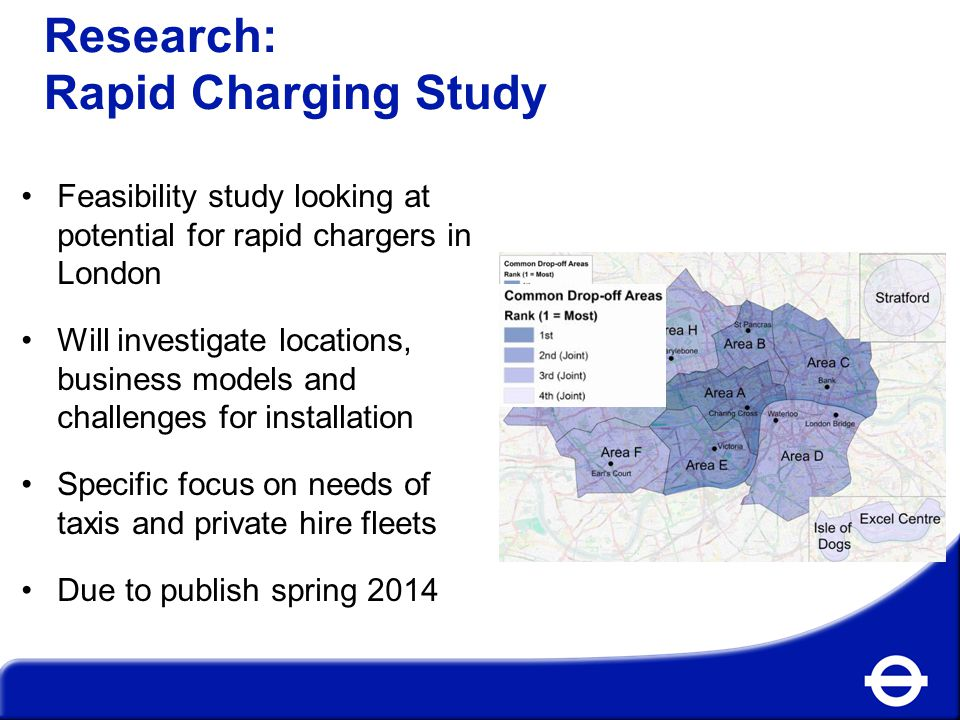 Research: Rapid Charging Study Feasibility study looking at potential for rapid chargers in London Will investigate locations, business models and challenges for installation Specific focus on needs of taxis and private hire fleets Due to publish spring 2014