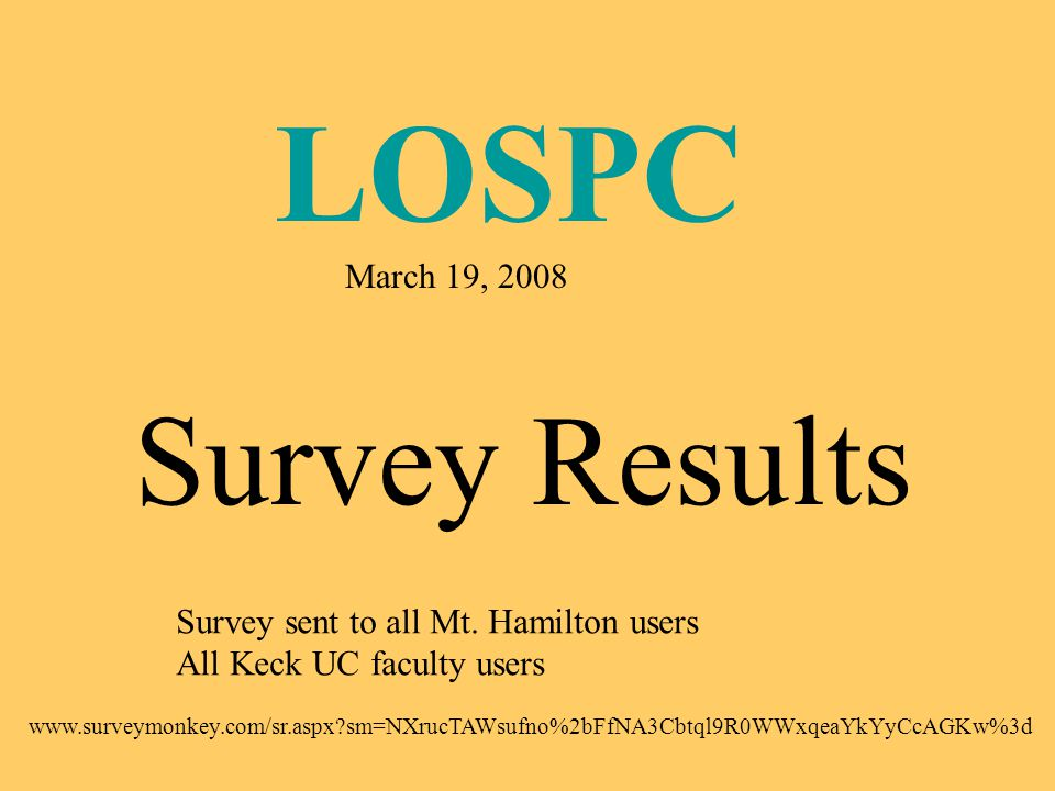 LOSPC March 19, 2008 Survey Results Survey sent to all Mt.