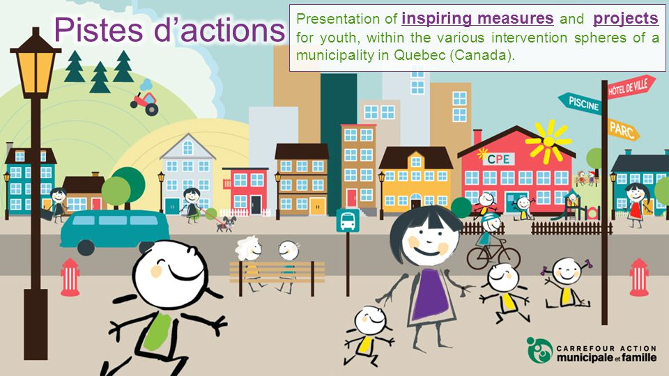 Presentation of inspiring measures and projects for youth, within the various intervention spheres of a municipality in Quebec (Canada).