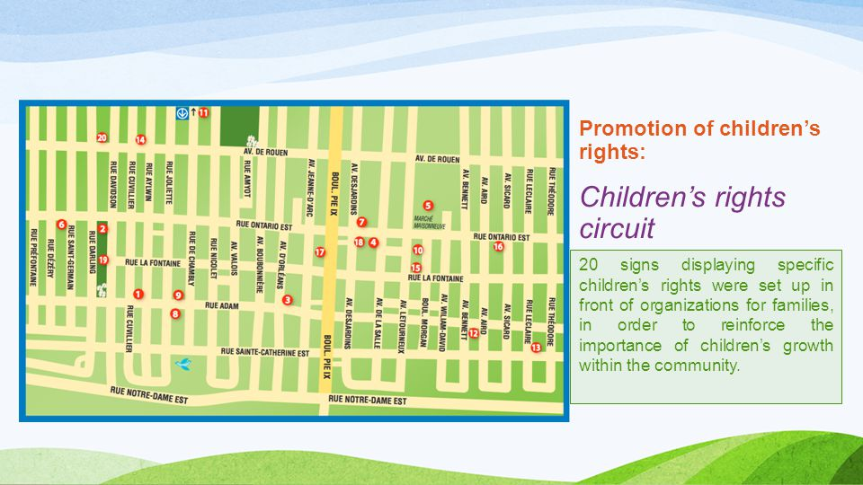 Promotion of children's rights: Children's rights circuit 20 signs displaying specific children's rights were set up in front of organizations for families, in order to reinforce the importance of children's growth within the community.