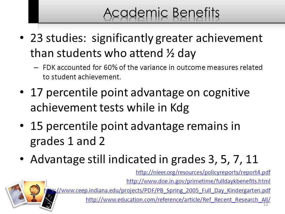 23 studies: significantly greater achievement than students who attend ½ day – FDK accounted for 60% of the variance in outcome measures related to st