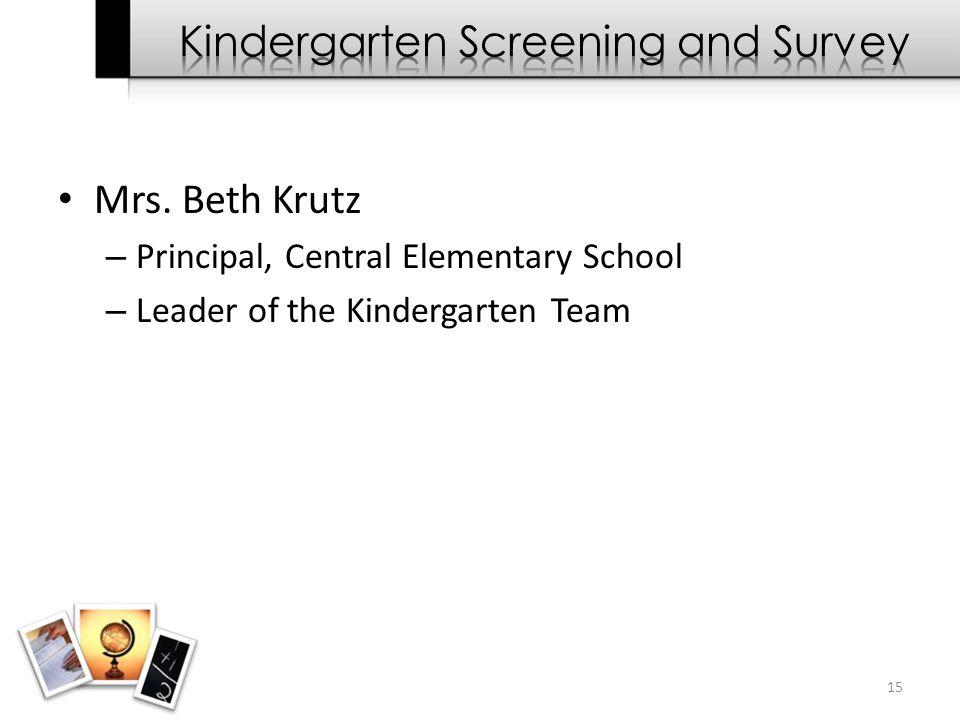 Mrs. Beth Krutz – Principal, Central Elementary School – Leader of the Kindergarten Team 15