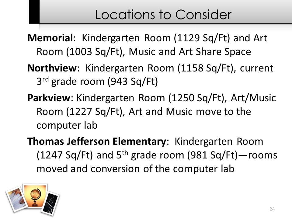 24 Memorial: Kindergarten Room (1129 Sq/Ft) and Art Room (1003 Sq/Ft), Music and Art Share Space Northview: Kindergarten Room (1158 Sq/Ft), current 3