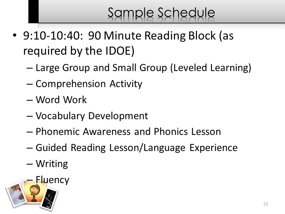 9:10-10:40: 90 Minute Reading Block (as required by the IDOE) – Large Group and Small Group (Leveled Learning) – Comprehension Activity – Word Work –