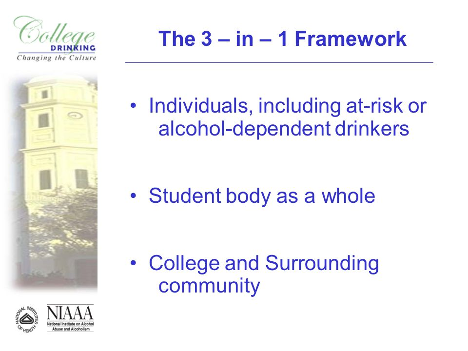 The 3 – in – 1 Framework Individuals, including at-risk or alcohol-dependent drinkers Student body as a whole College and Surrounding community