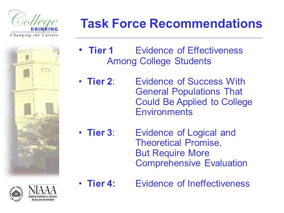 Task Force Recommendations Tier 1 Evidence of Effectiveness Among College Students Tier 2: Evidence of Success With General Populations That Could Be Applied to College Environments Tier 3: Evidence of Logical and Theoretical Promise, But Require More Comprehensive Evaluation Tier 4: Evidence of Ineffectiveness