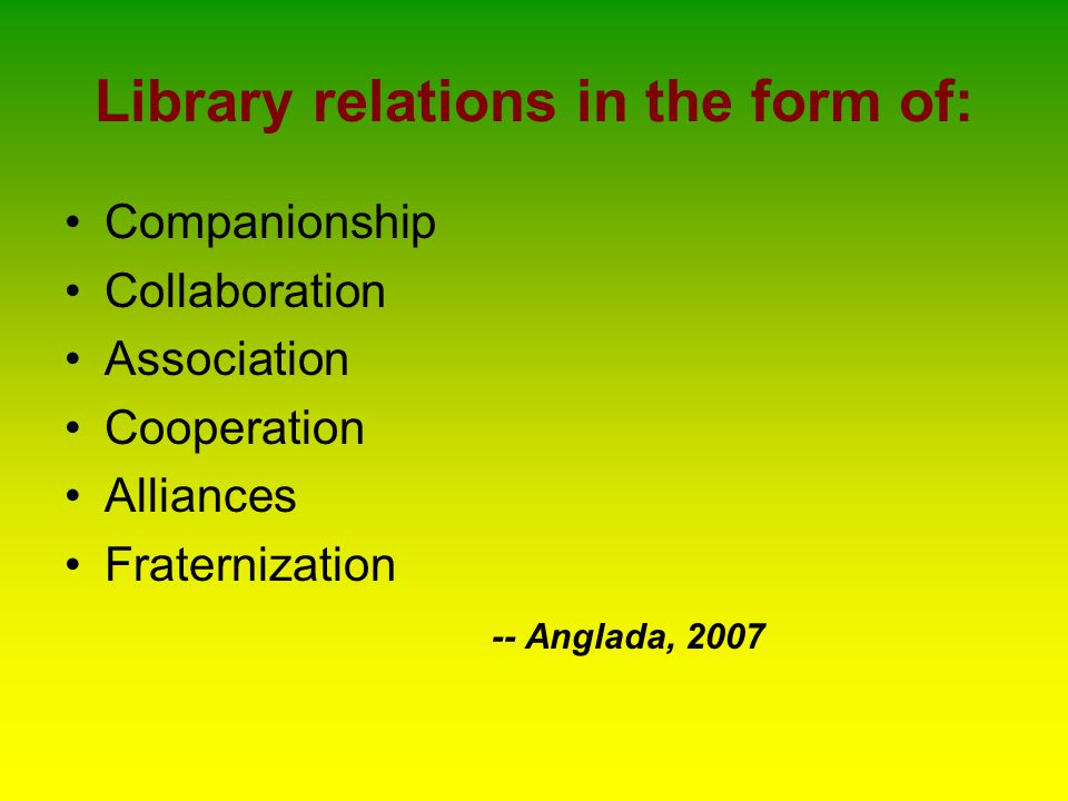 Local Library Networks DOST-ESEP Library Network Inter-Institutional Consortium (IIC) or South Manila Consortium Mendiola Consortium Intramuros Library Consortium Health Research and Development Information Network (HERDIN) Association of Research and Academic Library Information Network (ARALIN) Ortigas Center Library Consortium Inc.