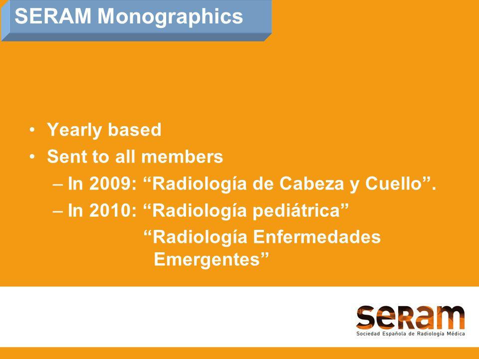 SERAM Monographics Yearly based Sent to all members –In 2009: Radiología de Cabeza y Cuello .