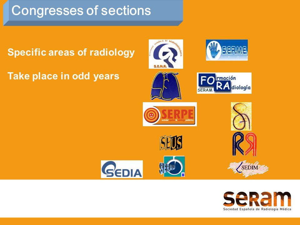 Specific areas of radiology Take place in odd years Congresses of sections