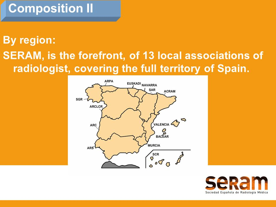 By region: SERAM, is the forefront, of 13 local associations of radiologist, covering the full territory of Spain.
