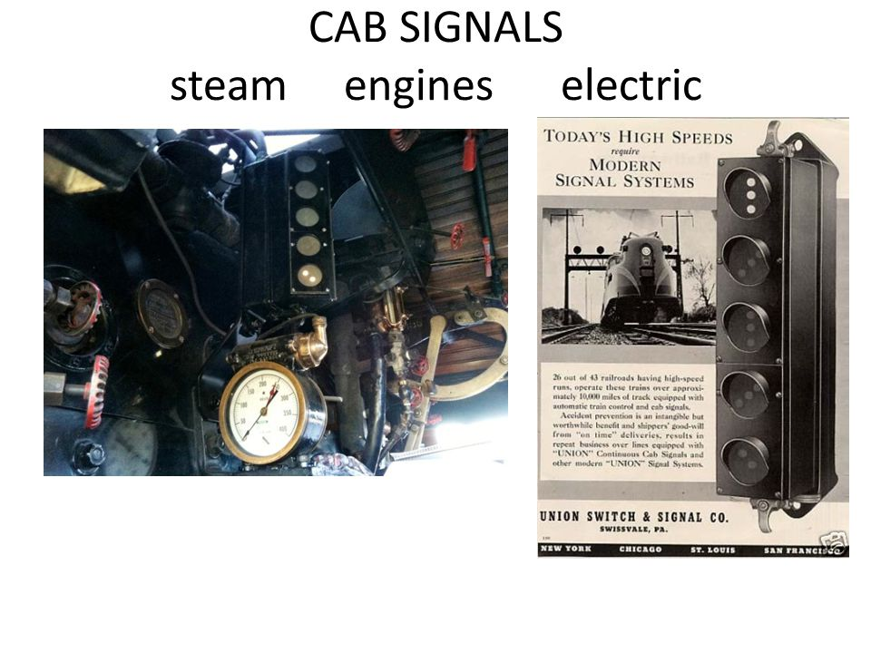 CAB SIGNALS steam engines electric