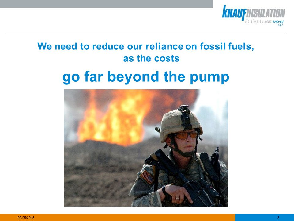5 02/05/2015 We need to reduce our reliance on fossil fuels, as the costs go far beyond the pump