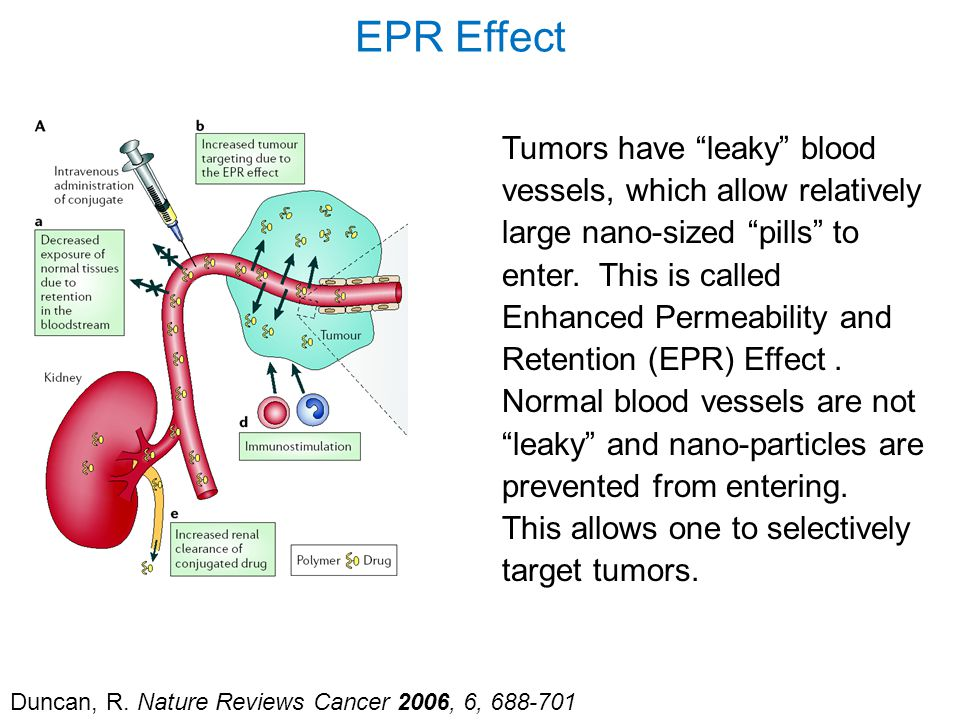 "Duncan, R. Nature Reviews Cancer 2006, 6, 688-701 EPR Effect Tumors have ""leaky"" blood vessels, which allow relatively large nano-sized ""pills"" to ent"