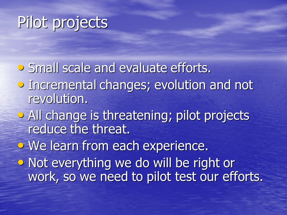Pilot projects Small scale and evaluate efforts.Small scale and evaluate efforts.