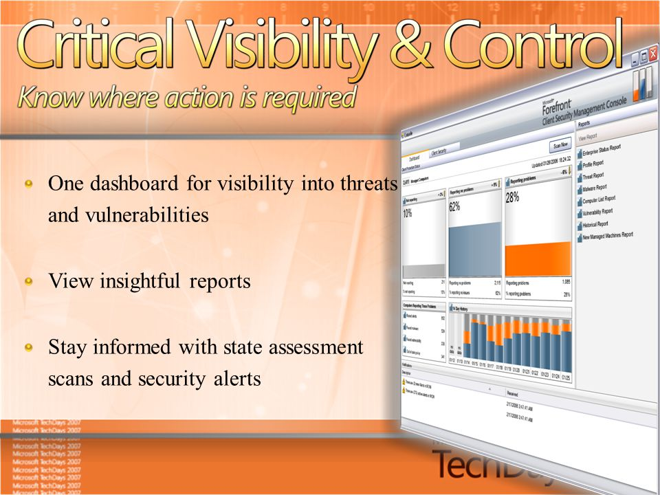 One dashboard for visibility into threats and vulnerabilities View insightful reports Stay informed with state assessment scans and security alerts