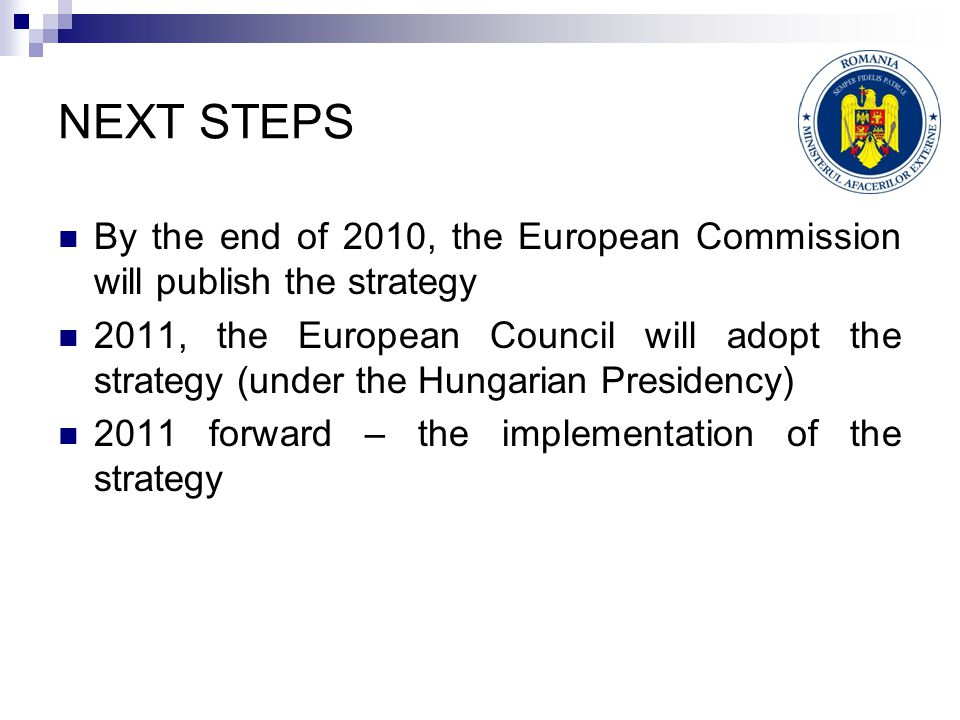 NEXT STEPS By the end of 2010, the European Commission will publish the strategy 2011, the European Council will adopt the strategy (under the Hungarian Presidency) 2011 forward – the implementation of the strategy