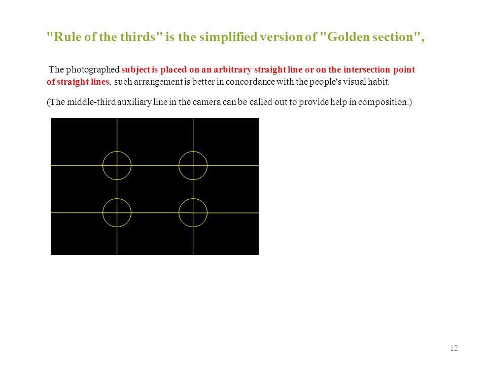 The photographed subject is placed on an arbitrary straight line or on the intersection point of straight lines, such arrangement is better in concordance with the people s visual habit.