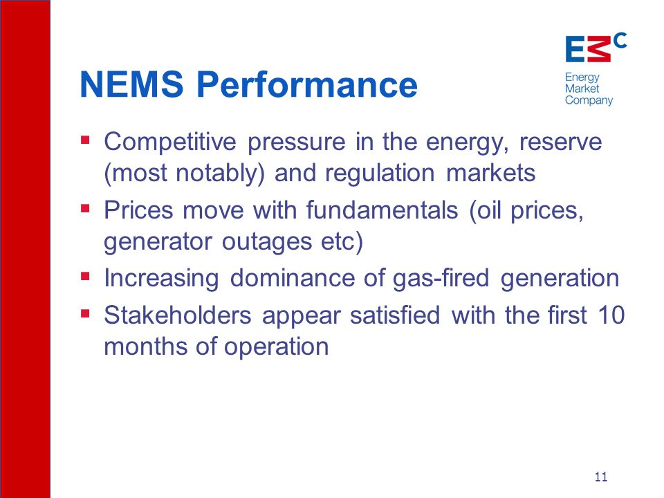 11 NEMS Performance  Competitive pressure in the energy, reserve (most notably) and regulation markets  Prices move with fundamentals (oil prices, generator outages etc)  Increasing dominance of gas-fired generation  Stakeholders appear satisfied with the first 10 months of operation