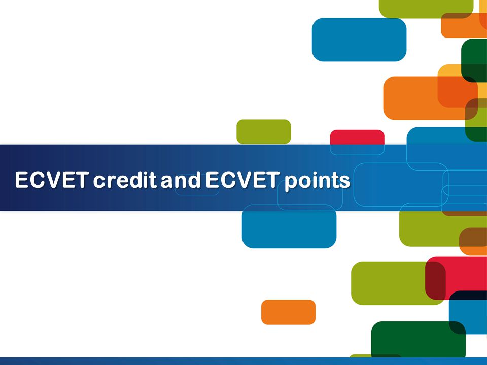 ECVET credit and ECVET points