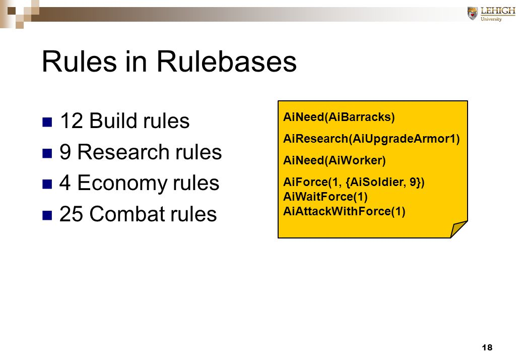 18 Rules in Rulebases 12 Build rules 9 Research rules 4 Economy rules 25 Combat rules AiNeed(AiBarracks) AiResearch(AiUpgradeArmor1) AiNeed(AiWorker) AiForce(1, {AiSoldier, 9}) AiWaitForce(1) AiAttackWithForce(1)