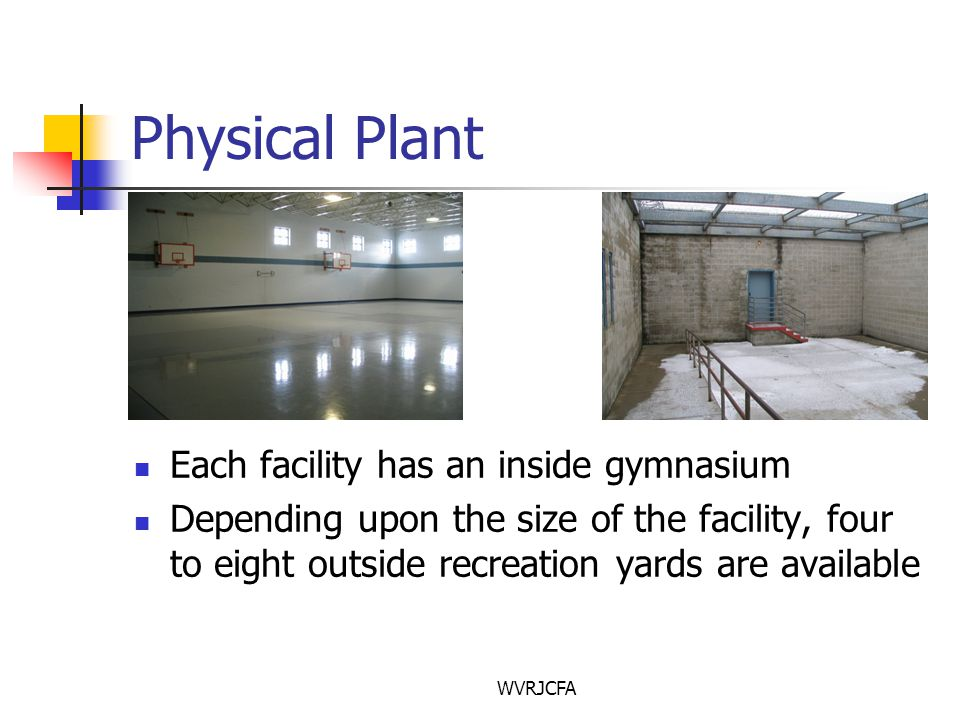 WVRJCFA Physical Plant Each facility has an inside gymnasium Depending upon the size of the facility, four to eight outside recreation yards are available