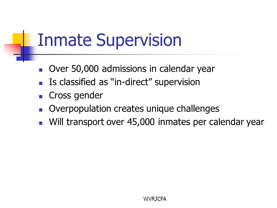 WVRJCFA Inmate Supervision Over 50,000 admissions in calendar year Is classified as in-direct supervision Cross gender Overpopulation creates unique challenges Will transport over 45,000 inmates per calendar year