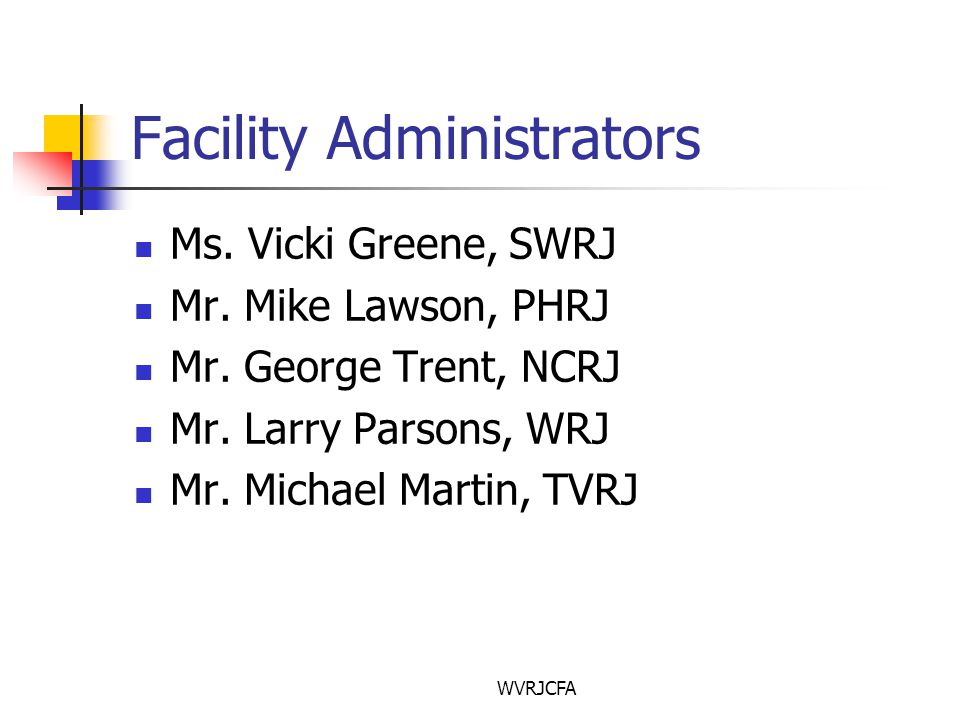 WVRJCFA Facility Administrators Ms. Vicki Greene, SWRJ Mr.