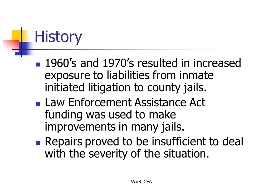 WVRJCFA History 1960's and 1970's resulted in increased exposure to liabilities from inmate initiated litigation to county jails.