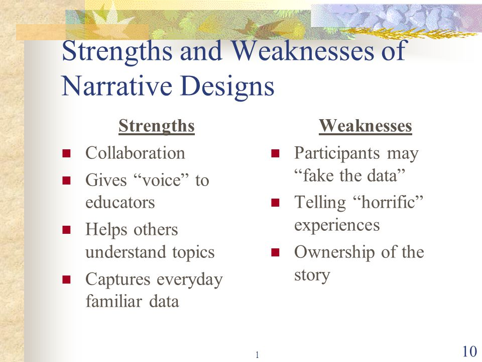 "l 10 Strengths and Weaknesses of Narrative Designs Strengths Collaboration Gives ""voice"" to educators Helps others understand topics Captures everyday"