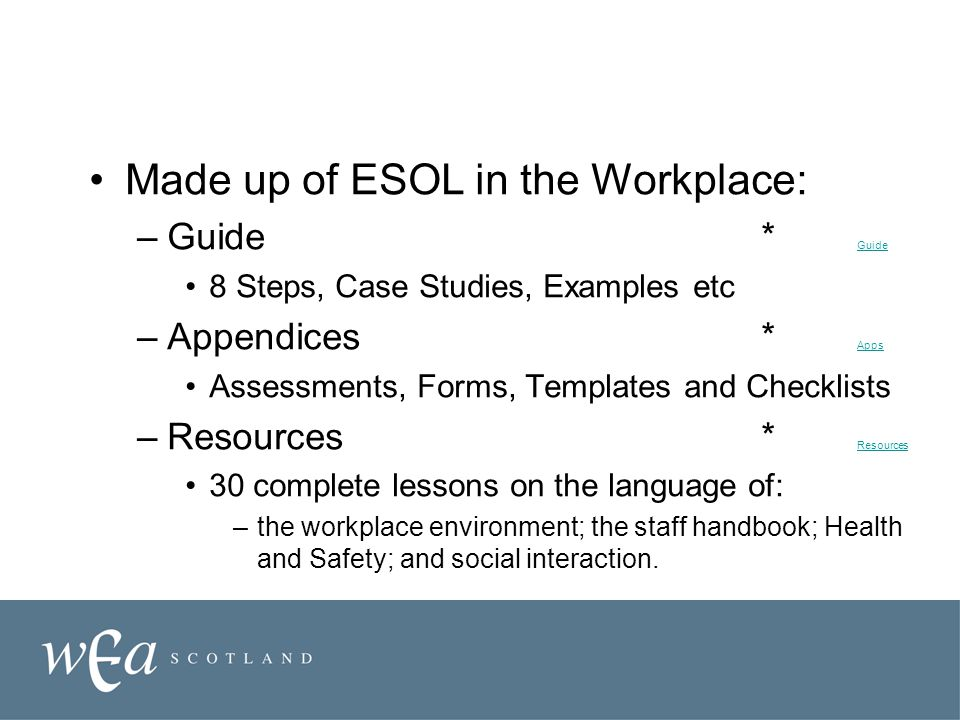 Made up of ESOL in the Workplace: –Guide * Guide Guide 8 Steps, Case Studies, Examples etc –Appendices * Apps Apps Assessments, Forms, Templates and Checklists –Resources * Resources Resources 30 complete lessons on the language of: –the workplace environment; the staff handbook; Health and Safety; and social interaction.