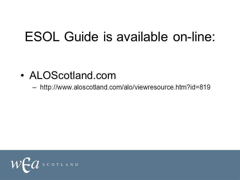 ESOL Guide is available on-line: ALOScotland.com –http://www.aloscotland.com/alo/viewresource.htm id=819