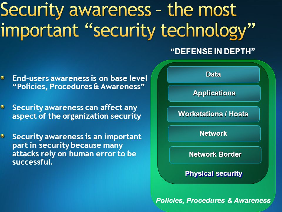 End-users awareness is on base level Policies, Procedures & Awareness Security awareness can affect any aspect of the organization security Security awareness is an important part in security because many attacks rely on human error to be successful.