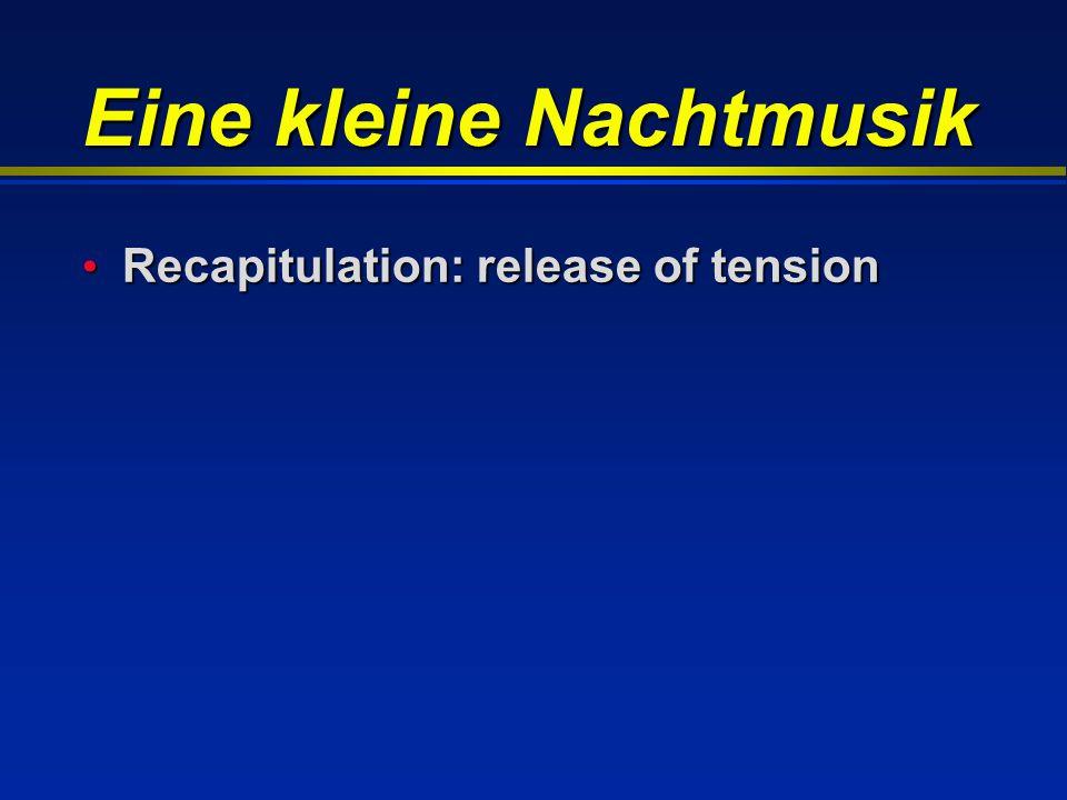 Eine kleine Nachtmusik Recapitulation: release of tension Recapitulation: release of tension