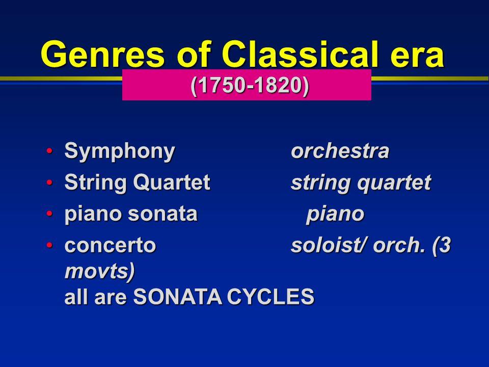 Genres of Classical era Symphonyorchestra Symphonyorchestra String Quartet string quartet String Quartet string quartet piano sonata piano piano sonata piano concerto soloist/ orch.