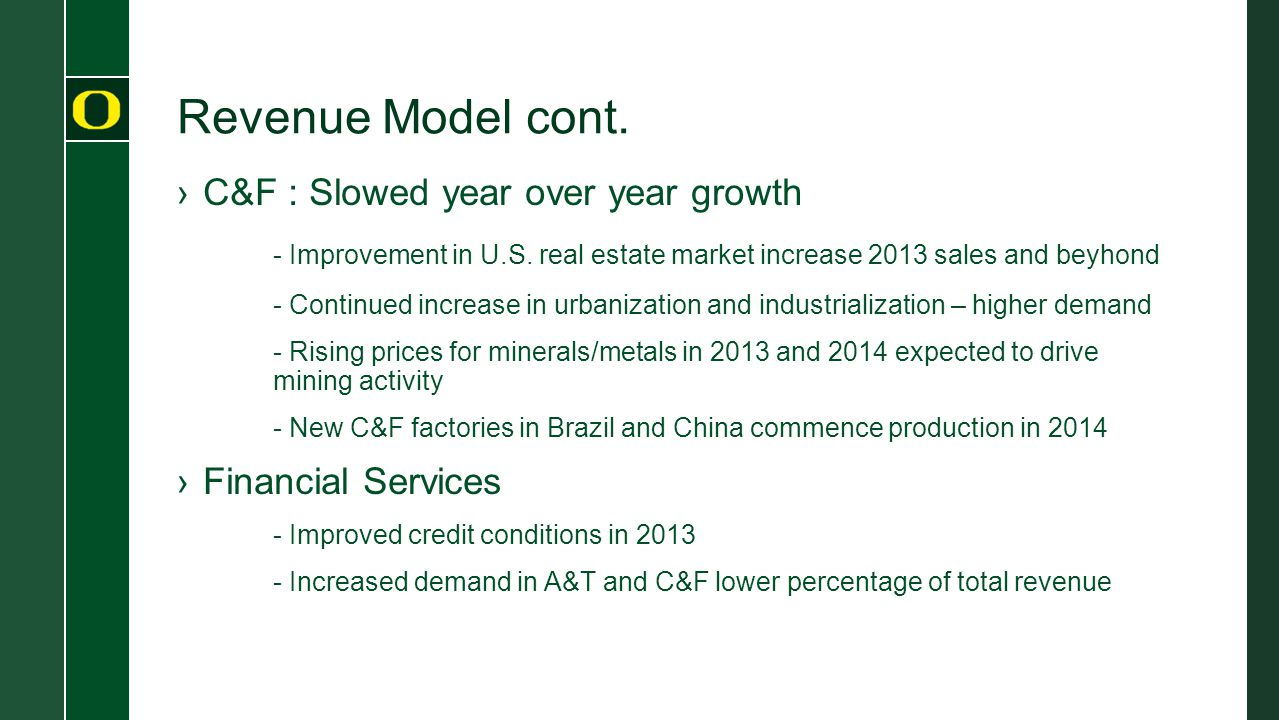 Revenue Model cont. ›C&F : Slowed year over year growth - Improvement in U.S.
