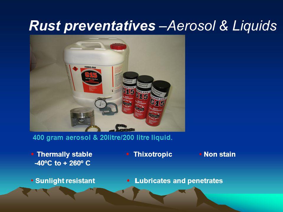 Rust preventatives –Aerosol & Liquids 400 gram aerosol & 20litre/200 litre liquid.