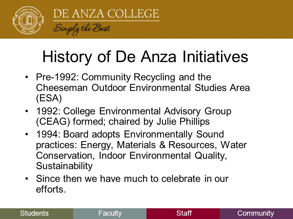 StudentsFacultyStaffCommunity History of De Anza Initiatives Pre-1992: Community Recycling and the Cheeseman Outdoor Environmental Studies Area (ESA) 1992: College Environmental Advisory Group (CEAG) formed; chaired by Julie Phillips 1994: Board adopts Environmentally Sound practices: Energy, Materials & Resources, Water Conservation, Indoor Environmental Quality, Sustainability Since then we have much to celebrate in our efforts.
