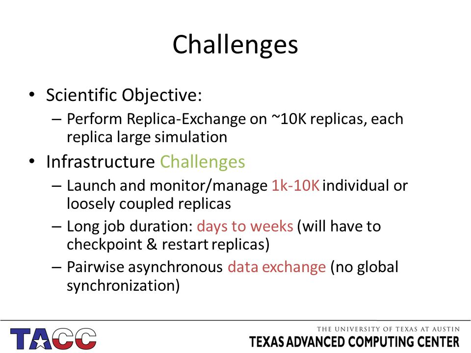 Challenges Scientific Objective: – Perform Replica-Exchange on ~10K replicas, each replica large simulation Infrastructure Challenges – Launch and monitor/manage 1k-10K individual or loosely coupled replicas – Long job duration: days to weeks (will have to checkpoint & restart replicas) – Pairwise asynchronous data exchange (no global synchronization)