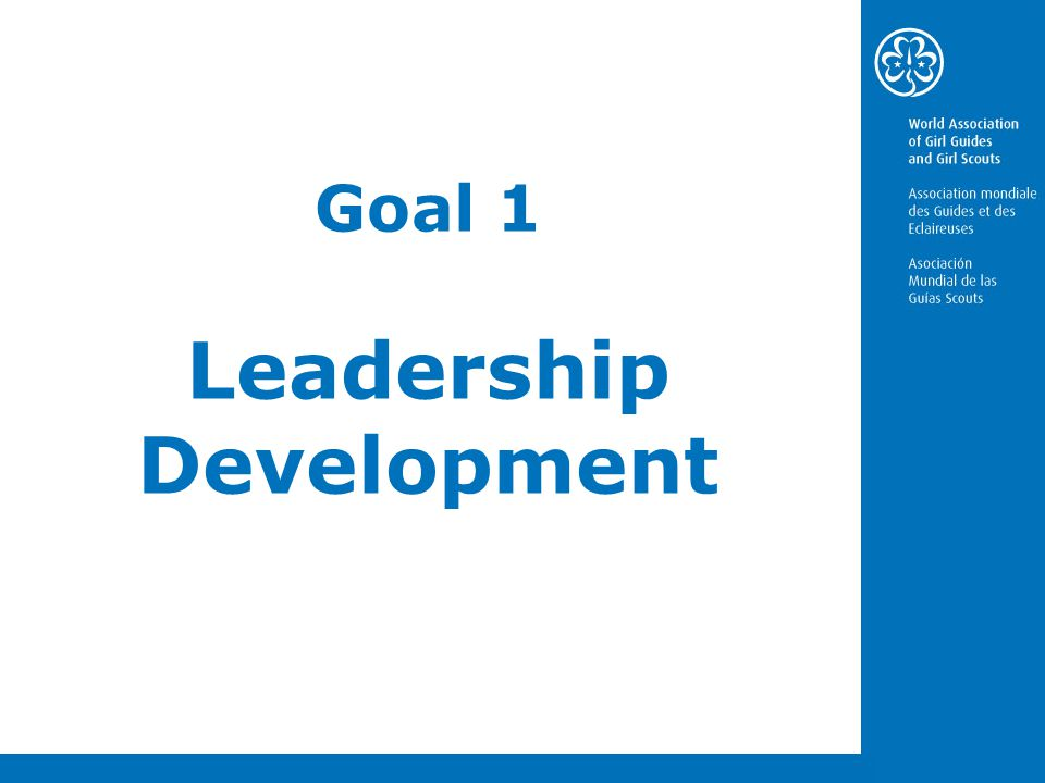 Goal 1- Leadership development capacity building In Girl Guiding/Girl Scouting we develop strategic leadership skills through: New approaches and Innovative methods Innovative leadership models Involvement of girls and young women in decision-making Quality programmes and development opportunities Strategic partnerships Value based international network for women leaders