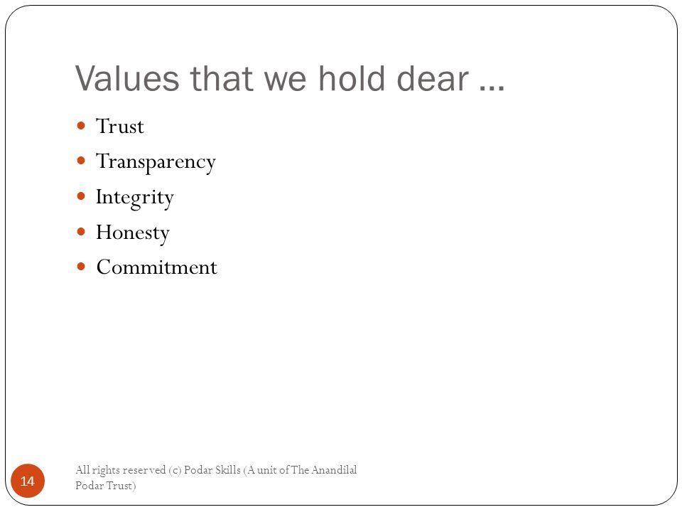 Values that we hold dear … All rights reserved (c) Podar Skills (A unit of The Anandilal Podar Trust) 14 Trust Transparency Integrity Honesty Commitment