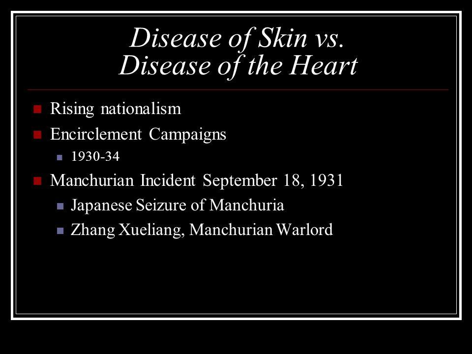 Disease of Skin vs. Disease of the Heart Rising nationalism Encirclement Campaigns 1930-34 Manchurian Incident September 18, 1931 Japanese Seizure of