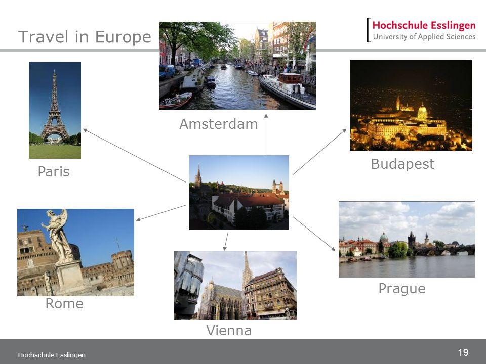 19 Hochschule Esslingen Travel in Europe Amsterdam Paris Budapest Prague Vienna Rome