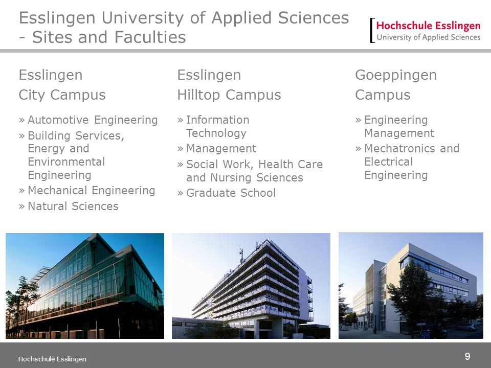 9 Hochschule Esslingen Esslingen University of Applied Sciences - Sites and Faculties Esslingen City Campus »Automotive Engineering »Building Services