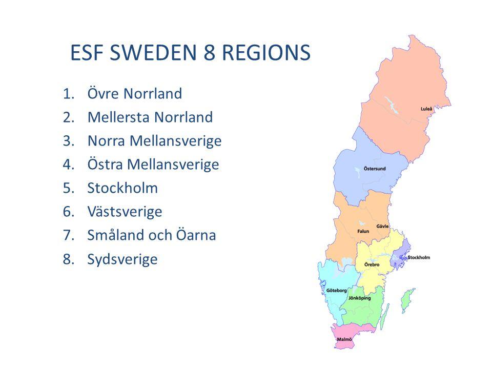 ESF SWEDEN 8 REGIONS 1.Övre Norrland 2.Mellersta Norrland 3.Norra Mellansverige 4.Östra Mellansverige 5.Stockholm 6.Västsverige 7.Småland och Öarna 8.Sydsverige